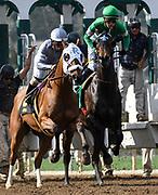 A horse jumps off lane at the start as the jockey maintains control at Friday's races at  Santa Anita  Park Friday, Mar. 06, 2020, in Santa Anita . (Mandatory Credit: Darin Sicurello-Sports Shooter Academy)