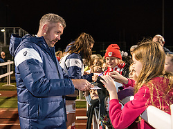 Willie Kirk manager of Bristol City Women chats to young supporters after signing an autograph - Mandatory by-line: Paul Knight/JMP - 02/12/2017 - FOOTBALL - Stoke Gifford Stadium - Bristol, England - Bristol City Women v Brighton and Hove Albion Ladies - Continental Cup Group 2 South