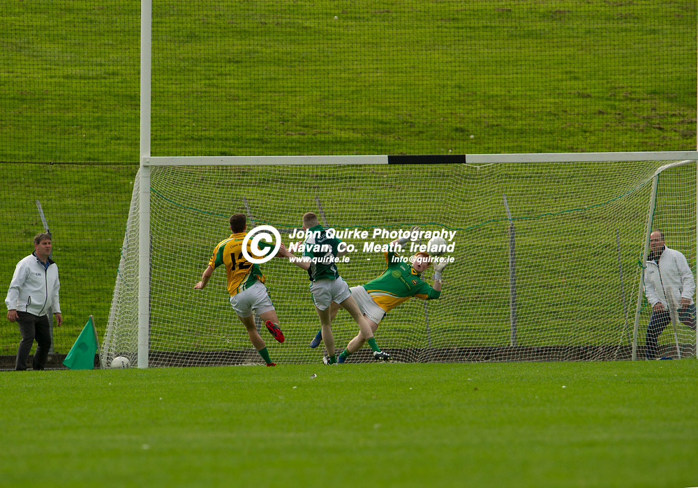 08-09-19. Clann na nGael v Moylagh  - A FL Div.4 Final  at Pairc Tailteann.<br /> Clann na nGael goalkeeper Eoin Griffin making a second spectacular save from Darren Gibney.<br /> Photo: John Quirke / www.quirke.ie<br /> ©John Quirke Photography, Unit 17, Blackcastle Shopping Cte. Navan. Co. Meath. 046-9079044 / 087-2579454.