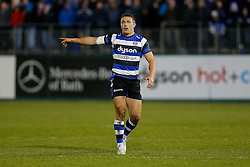 Bath Inside Centre Sam Burgess, making his first start for the Club, points - Photo mandatory by-line: Rogan Thomson/JMP - 07966 386802 - 12/12/2014 - SPORT - RUGBY UNION - Bath, England - The Recreation Ground - Bath Rugby v Montpellier Herault Rugby - European Rugby Champions Cup Pool 4.