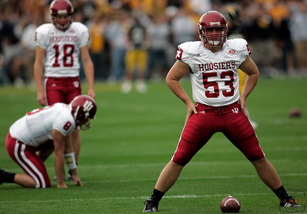 29 September 2007:Indiana long snapper Brandon Bugg (53) as the Indiana Hoosiers played Iowa Hawkeyes in a college football game in Iowa City, Ia. Indiana won 38-20.