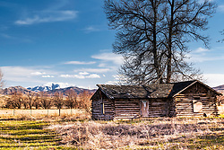 Derelict homestead, Blackfoot Idaho.  Caribou Mountain rises behind this prolific farming valley in Eastern Idaho