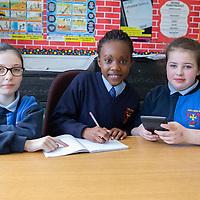 Diana McDonagh Elva Harvie Hakizimana and Lauren Keane from Scoil Chríost Rí working on their Jessies Project