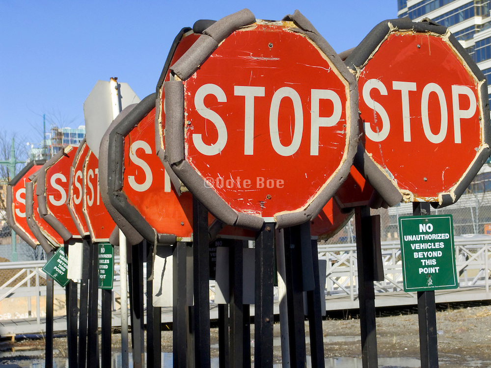 many stop signs at a storage depot