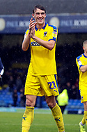 AFC Wimbledon defender Ryan Delaney (21) celebrating win and scoring goal, clapping during the EFL Sky Bet League 1 match between Southend United and AFC Wimbledon at Roots Hall, Southend, England on 12 October 2019.