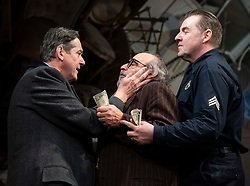 The Price <br /> by Arthur Miller <br /> 50th anniversary production presented by Theatre Royal Bath Productions and Jonathan Church Productions<br /> <br /> Wyndham's Theatre, <br /> London Great Britain <br /> Press photocall <br /> 7th February 2019 <br />  <br /> <br /> Adrian Lukis as Walter Franz <br /> David Suchet as Gregory Solomon <br /> Brendan Coyle as Victor Franz <br /> <br /> <br /> <br /> <br /> <br /> Photograph by Elliott Franks