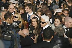 German fashion designer Karl Lagerfeld and Princess Caroline of Monaco's daughter, Charlotte Casiraghi, pictured after the fashion show of Chanel's Haute Couture Spring-Summer 2007 held at 'Le Grand Palais', in Paris, France, on January 23, 2007. Photo by Khayat-Nebinger-Orban-Taamallah/ABACAPRESS.COM