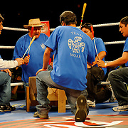 """June 19, 2009 - Richmond, BC - Rumble at the Rock IV - Moar brought an Indian entourage with him for his ring entrance. Here native Canadian Indians sing and play drums in the ring prior to the start of the title fight..Heavyweight fighters Junior Moar of Richmond, BC, and Abdallah Ramadan of Toronto, Ontario, squared off in a ten round bout for the Canadian Light Heavyweight Title. Ramadan's record going into the fight was 15-8-0 with nine wins by KO. Junior """"The Real Deal"""" Moar's record was 6-2-0 with two wins by KO. .Moar won the Canadian light heavyweight title Friday night when Ramadan was disqualified in the sixth round after seemingly never ending series of low blows..The River Rock Casino Resort hosted the West Coast Promotions Rumble at the Rock VI boxing event at the River Rock Show Theatre."""