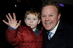 © under license to London News Pictures.  19.11.2010, Mr Tumble (Justin Flecte,MBE) from CBBC.switching the xmas lights on at the winter gardens,Bluewater,Greenhithe,.Kent. with  Sam Meads age 2 from Kent,who helped switch the lights on..Picture credit should read Grant Falvey/London News Pictures