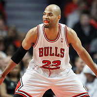 26 March 2012: Chicago Bulls forward Taj Gibson (22) is seen on defense during the Denver Nuggets 108-91 victory over the Chicago Bulls at the United Center, Chicago, Illinois, USA. NOTE TO USER: User expressly acknowledges and agrees that, by downloading and or using this photograph, User is consenting to the terms and conditions of the Getty Images License Agreement. Mandatory Credit: 2012 NBAE (Photo by Chris Elise/NBAE via Getty Images)