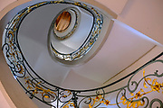 Spiral staircase as seen from below