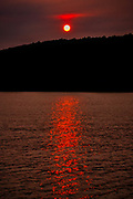 Hazy Summer Sunset on Harveys Lake, Northeastern skies feeling the fallout from the West Coast wildfires.