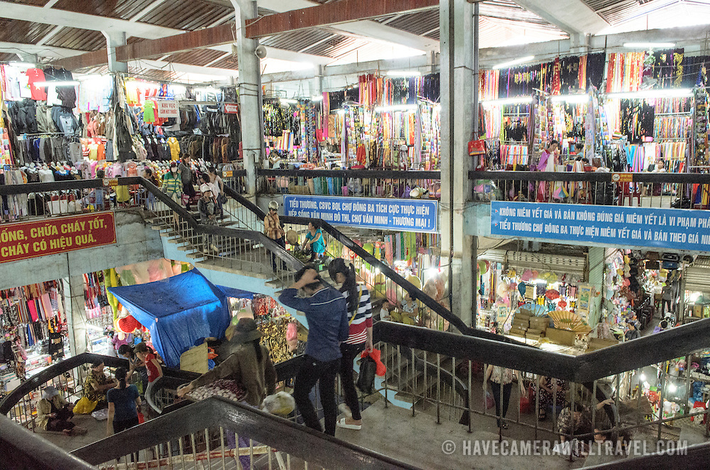 Main central staircase at Cho Dong Ba, the main city market in Hue, Vietnam. Please note that the image includes some high ISO noise.