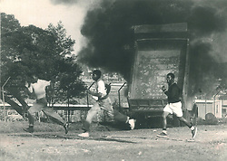 June 16 Commemoration - A truck burns fiercely at the height of the violence near the Crossroads in Jabavu Soweto. Picture: Alf Kumalo/African News Agency(ANA)