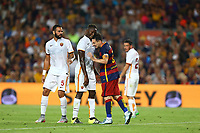 Lionel Messi of FC Barcelona headbutts Mapou Yanga-Mbiwa of AS Roma during the Joan Gamper Trophy, FC Barcelona v AS Roma, at Camp Nou Stadium, in Barcelona, Spain, on August 5, 2015 - Photo Manuel Blondeau / Aop Press / DPPI