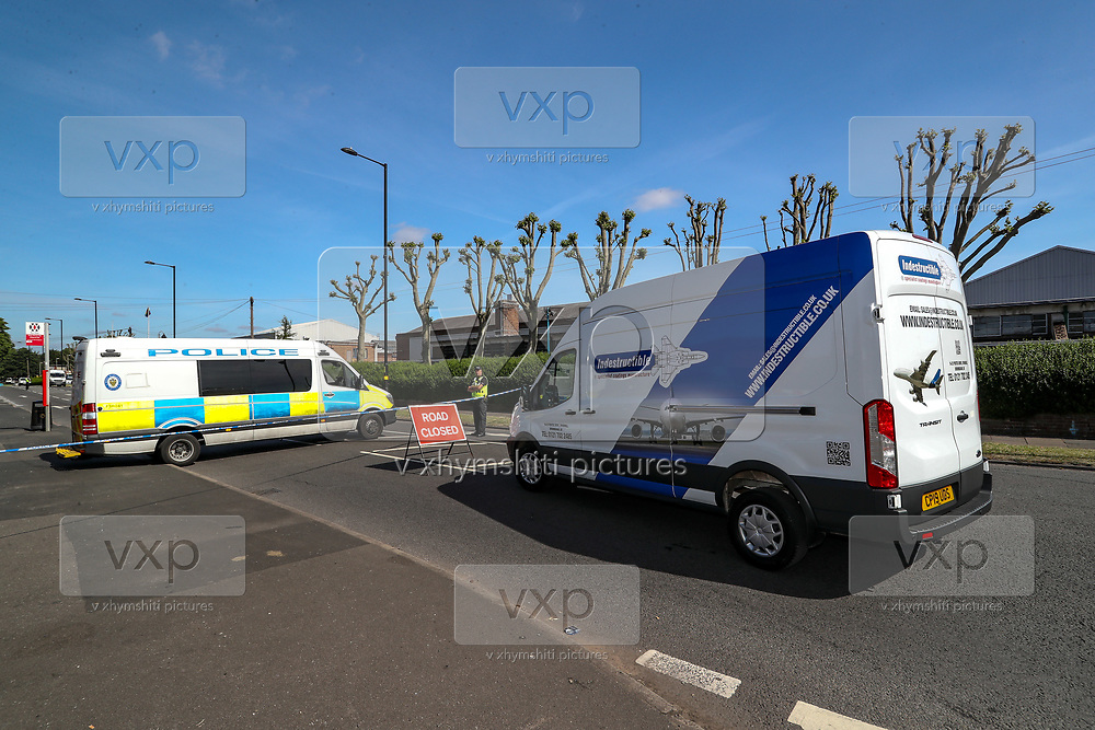 """Birmingham, United Kingdom, June 15, 2021: Police put a sign """"ROAD CLOSED"""" and turn back an """"INDESTRUCITBLE' Van on Tuesday morning, which marks the 2nd day of occupation of the Arconic factory site in Birmingham on June 15, 2021. Activists from 'Palestine Action' continues to occupy an American industrial factory known as Arconic in Birmingham. This is a protest against the company who they say 'provided cladding for Grenfell Tower' and 'materials for Israel's fighter jets.' (Photo by Vudi Xhymshiti)"""