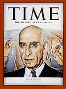 Mossadeq 1951 Man of Year, from Time 1952. Mohammad Mosaddegh  (19 May 1882 – 5 March 1967) Prime Minister of Iran from 1951 to 1953 when he was overthrown in a coup d'état backed by the United States Central Intelligence Agency.