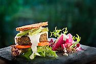 Mediterranean bread, kale and mushroom patty burger, cashew mayo, jicama pickled. *it is not in the menu any longer