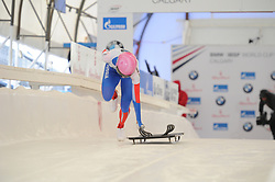 February 23, 2019 - Calgary, Alberta, Canada - Iuliia Kanakina (Russia) competes during BMW IBSF SKELETON WORLD CUP Calgary Canada 23.02.2019 (Credit Image: © Russian Look via ZUMA Wire)
