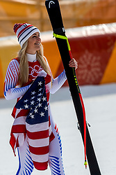 PYEONGCHANG-GUN, SOUTH KOREA - FEBRUARY 21:  Lindsey Vonn of the United States celebrates after the Ladies' Downhill on day 12 of the PyeongChang 2018 Winter Olympic Games at Jeongseon Alpine Centre on February 21, 2018 in Pyeongchang-gun, South Korea. Photo by Ronald Hoogendoorn / Sportida