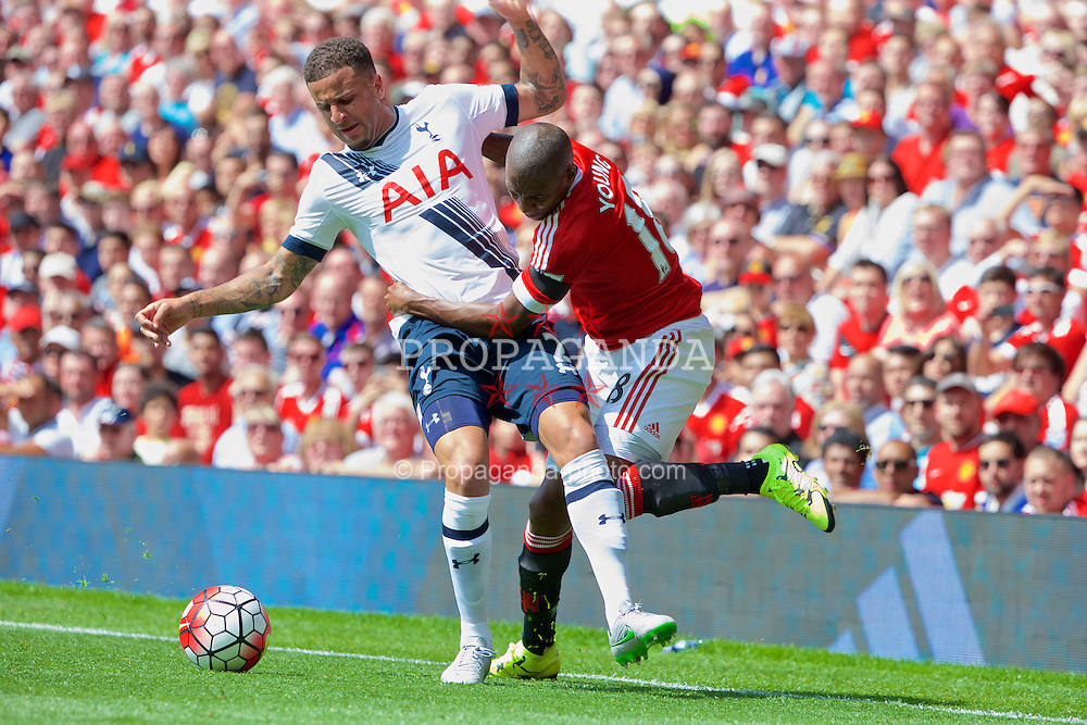 MANCHESTER, ENGLAND - Saturday, August 8, 2015: Manchester United's Ashley Young and Tottenham Hotspur's Kyle Walker during the Premier League match at Old Trafford. (Pic by David Rawcliffe/Propaganda)