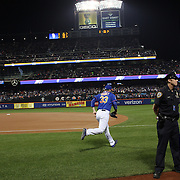 Pitcher Matt Harvey, New York Mets, heads out of the dugout to warm up before the New York Mets Vs Los Angeles Dodgers, game three of the NL Division Series at Citi Field, Queens, New York. USA. 12th October 2015. Photo Tim Clayton for The Players Tribune