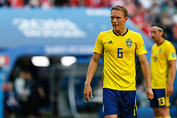 July 3, 2018 - Saint Petersburg, Russia - Ludwig Augustinsson of Sweden national team during the 2018 FIFA World Cup Russia Round of 16 match between Sweden and Switzerland on July 3, 2018 at Saint Petersburg Stadium in Saint Petersburg, Russia. (Credit Image: © Mike Kireev/NurPhoto via ZUMA Press)