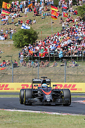 26.07.2015, Hungaroring, Budapest, HUN, FIA, Formel 1, Grand Prix von Ungarn, das Rennen, im Bild Fernando Alonso (McLaren Honda) // during the race of the Hungarian Formula One Grand Prix at the Hungaroring in Budapest, Hungary on 2015/07/26. EXPA Pictures © 2015, PhotoCredit: EXPA/ Eibner-Pressefoto/ Bermel<br /> <br /> *****ATTENTION - OUT of GER*****