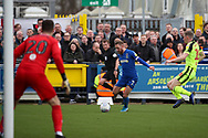AFC Wimbledon midfielder Scott Wagstaff (7) about to cross the ball during the EFL Sky Bet League 1 match between AFC Wimbledon and Bolton Wanderers at the Cherry Red Records Stadium, Kingston, England on 7 March 2020.
