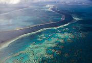 Aerial view of the Great Barrier Reef off Australia's Whitsunday Islands 2008.