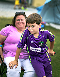 10 October 2015. Mandeville, Louisiana.<br /> Pam and the boys at New Orleans Jesters Youth Academy, U10 team Green take on Gulf Coast United (Gold). Jesters emerge victorious.<br /> Photo©; Charlie Varley/varleypix.com
