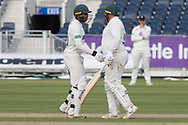 50 - Hassan Azad is congratulated by Mark Cosgrove on going to 50 during the Specsavers County Champ Div 2 match between Durham County Cricket Club and Leicestershire County Cricket Club at the Emirates Durham ICG Ground, Chester-le-Street, United Kingdom on 19 August 2019.