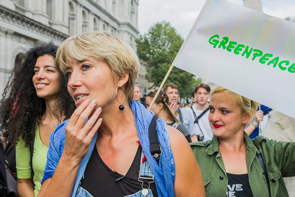 """People's Climate march, London – As part of an international day of protest - led by Emma Thompson and Vivienne Westwood - people march to demand: """"a world with an economy that works for people and the planet; a world safe from the ravages of climate change; and a world with good jobs, clean air, and healthy communities for everyone.  The march started in Temple Place and ended outside Parliament – Westminster, London, UK,  21st Sept  2014. Guy Bell, 07771 786236, guy@gbphotos.com"""