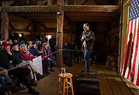 Mayor Pete Buttigieg speaks to a packed house during the New Hampton 2020 barn party on Saturday afternoon.  (Karen Bobotas/for the Laconia Daily Sun)