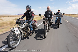 Californians and Thor Losers Dan Kraft (L) riding his 1913 Thor, Doug Feinsod also on a 1913 Thor and Steve Gonzales on his 1915 Harley-Davidson during the Motorcycle Cannonball Race of the Century. Stage-11 ride from Durango, CO to Page, AZ. USA. Wednesday September 21, 2016. Photography ©2016 Michael Lichter.