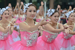 September 13, 2016 - Pingchang, China - A group of a young dancers during the opening ceremony of the fourth stage, 157.57 km from Bazhong to Pingchang, during the 2016 Tour of China 1...On Tuesday, 13 September 2016, in Pingchang, China. (Credit Image: © Artur Widak/NurPhoto via ZUMA Press)
