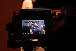 © Licensed to London News Pictures . 30/09/2015 . Brighton , UK .  A TV camera focussed on ANDY BURNHAM listening to speakers from the panel at the conference . The 2015 Labour Party Conference . Photo credit : Joel Goodman/LNP