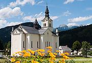 The parish Church of Saint Nicholas was built in the baroque style in Bohinjska Bistrica, in the alpine valley of Bohinj, Upper Carniola, Julian Alps, Slovenia, Europe.