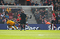 Football - 2018 / 2019 Premier League - Southampton vs. Wolverhampton Wanderers<br /> <br /> Willy Boly of Wolverhampton Wanderers climbs highest to head home an equaliser for Wolves at St Mary's Stadium Southampton<br /> <br /> COLORSPORT/SHAUN BOGGUST