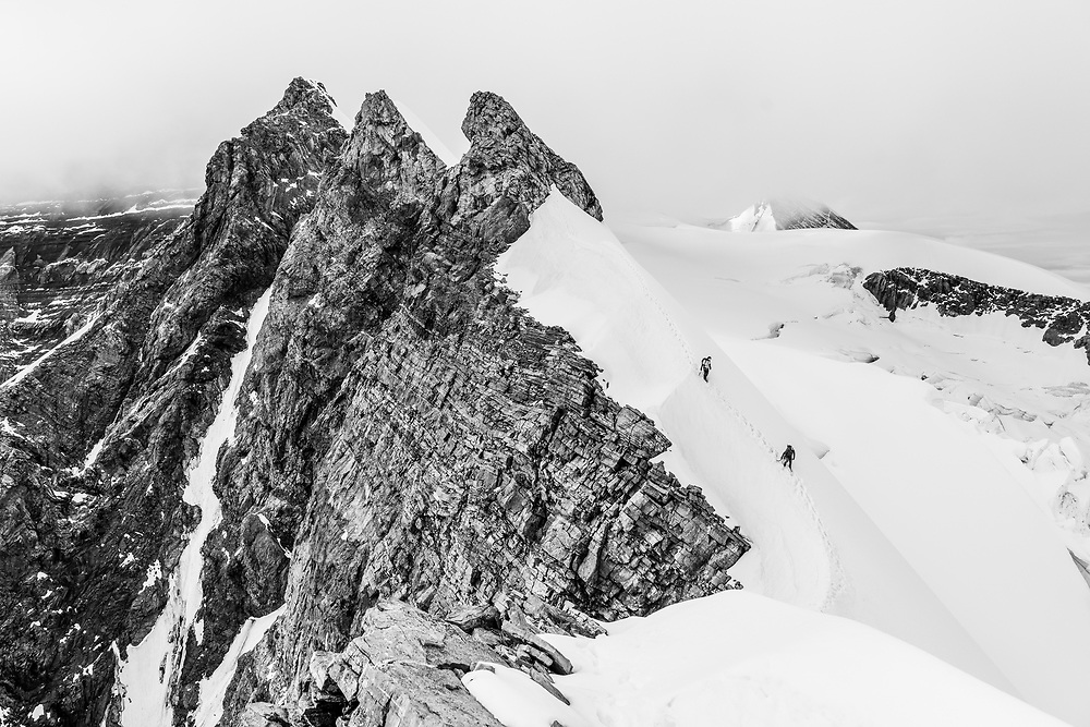 Grant Steward and Dane Steadman descending Mt Robson in Mt Robson Provincial Park, British Columbia