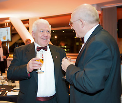 CARDIFF, WALES - Tuesday, October 7, 2008: Press Association journalist Paul Walker chats with FAW Council Member xxxx at the Brains Beer Wales Football Awards at the Millennium Stadium. (Photo by David Rawcliffe/Propaganda)