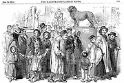 Agricultural workers and their families at the Great Exhibition of 1851 in  the Crystal Palace, Hyde Park, London, in the week that admittance was one shilling (5p) rather than the normal five shillings (25p).  Wood engraving  July 1851.
