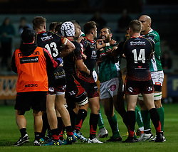 Dragons and Benetton Treviso players get out the handbags<br /> <br /> Photographer Simon King/Replay Images<br /> <br /> Guinness PRO14 Round 1 - Dragons v Benetton Treviso - Saturday 1st September 2018 - Rodney Parade - Newport<br /> <br /> World Copyright © Replay Images . All rights reserved. info@replayimages.co.uk - http://replayimages.co.uk