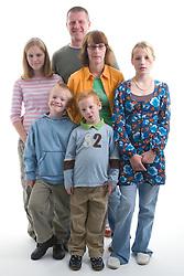 Portrait of a family in the studio,