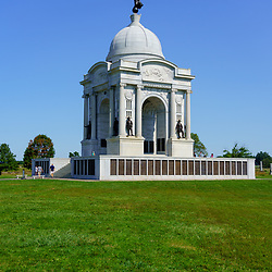 Gettysburg, PA, USA - September 6, 2020: The Pennsylvania Memorial at the Gettysburg National Military Park, in the United States.