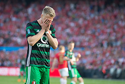 Nicolai Jorgensen of Feyenoord during the Dutch Toto KNVB Cup Final match between AZ Alkmaar and Feyenoord on April 22, 2018 at the Kuip stadium in Rotterdam, The Netherlands.