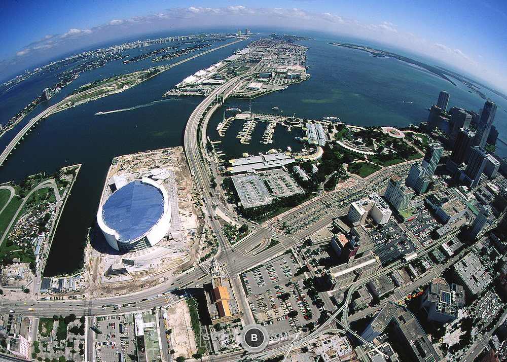 Helicopter aerial veiws of the American Airlines arena, Miami, Florida.