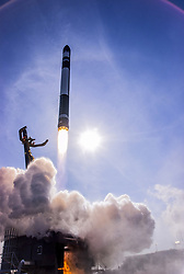 November 11, 2018 - Wairoa, New Zealand - The Rocket Lab Electron booster rocket named Its Business Time, successfully lifts off from the Mahia Peninsula November 10, 2018 near Wairoa, New Zealand. The rocket carrying six small satellites is the first commercial launch for the small space start up. (Credit Image: © Kieran Fanning & Sam Toms via ZUMA Wire)