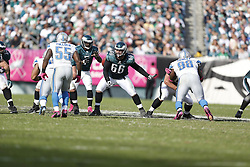 Philadelphia Eagles center Dallas Reynolds (66) during the NFL game between the Detroit Lions and the Philadelphia Eagles on Sunday, October 14th 2012 in Philadelphia. The Lions won 26-23 in Overtime. (Photo by Brian Garfinkel)