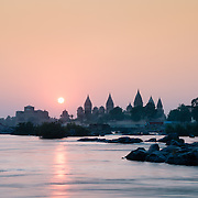 Orccha chhartris and Betwa River at dusk